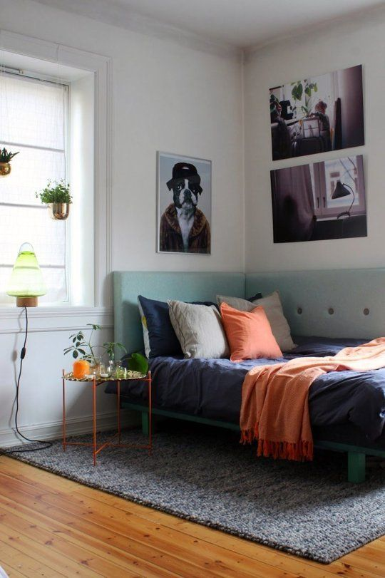 Key small-space strategy: Install a wraparound corner headboard for hybrid daybed/real : corner bed headboard ideas  - pillowsntoast.com