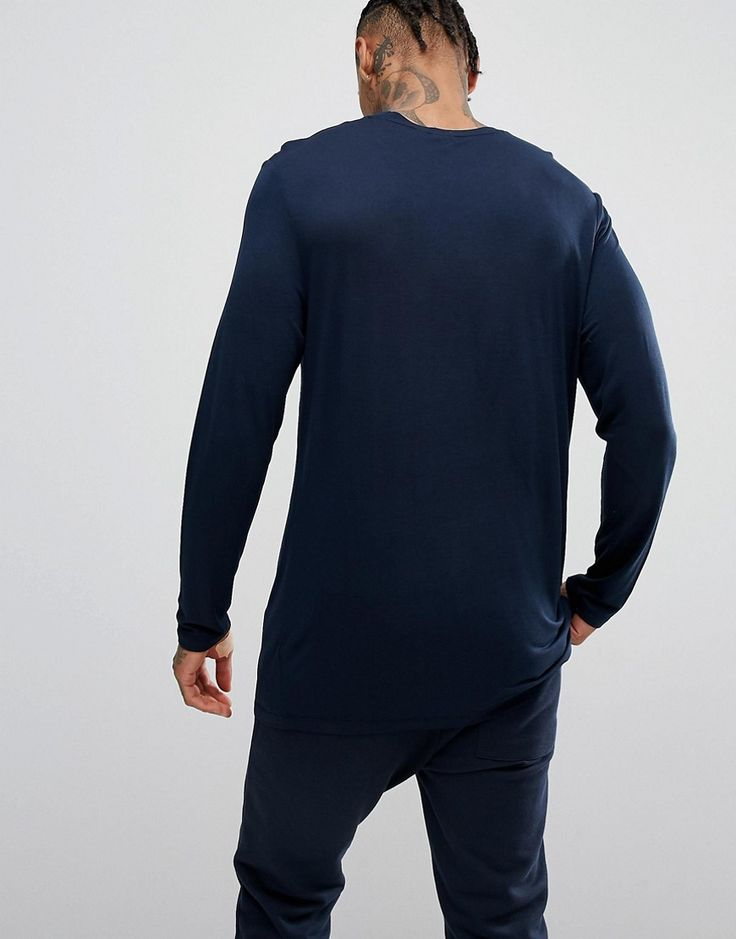 ASOS Longline Long Sleeve T-Shirt In Drape Viscose Fabric In Navy - Na