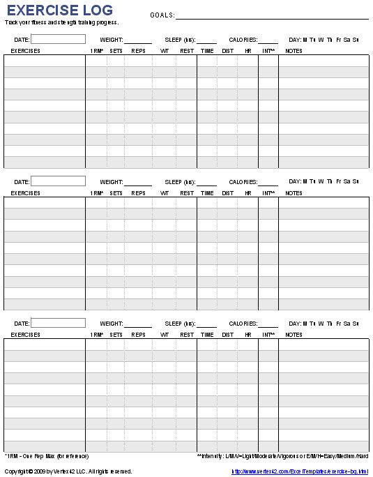 Printable weekly workout log template eoua blog for Weight training log template