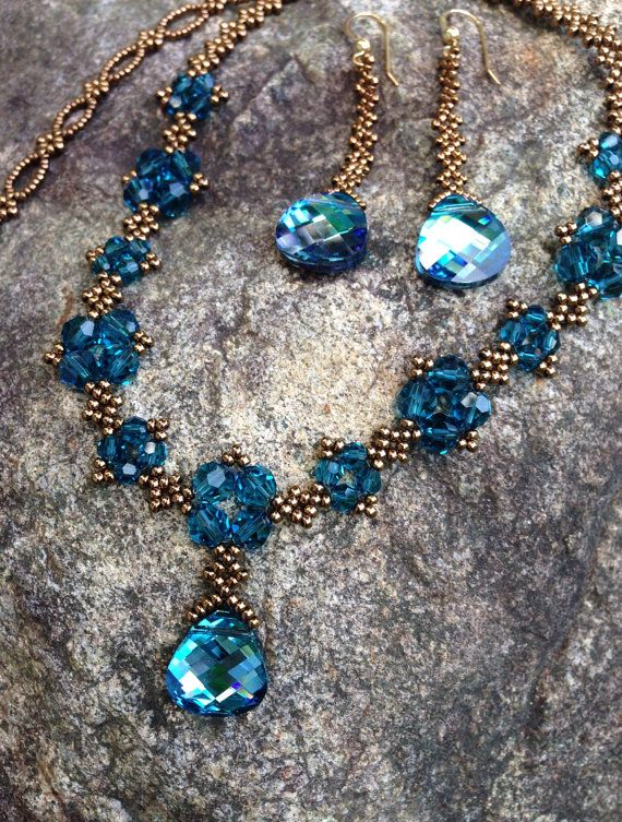 Swarovski crystal pendant necklace, crystal necklace, statement necklace, beaded teal aqua turquoise necklace, earrings sold separately  EBW