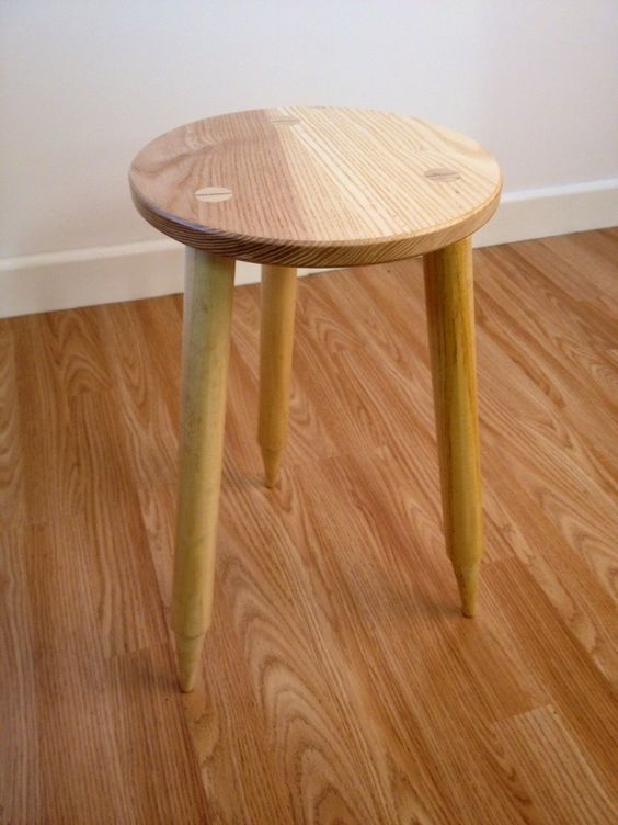 Stool/table with cricket stump legs www.stephenson-furniture.co.uk: