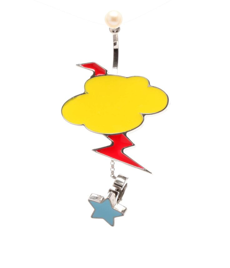 Pendant Earring by delfina Delettrez. Single silver earring, with cloud and thunder.