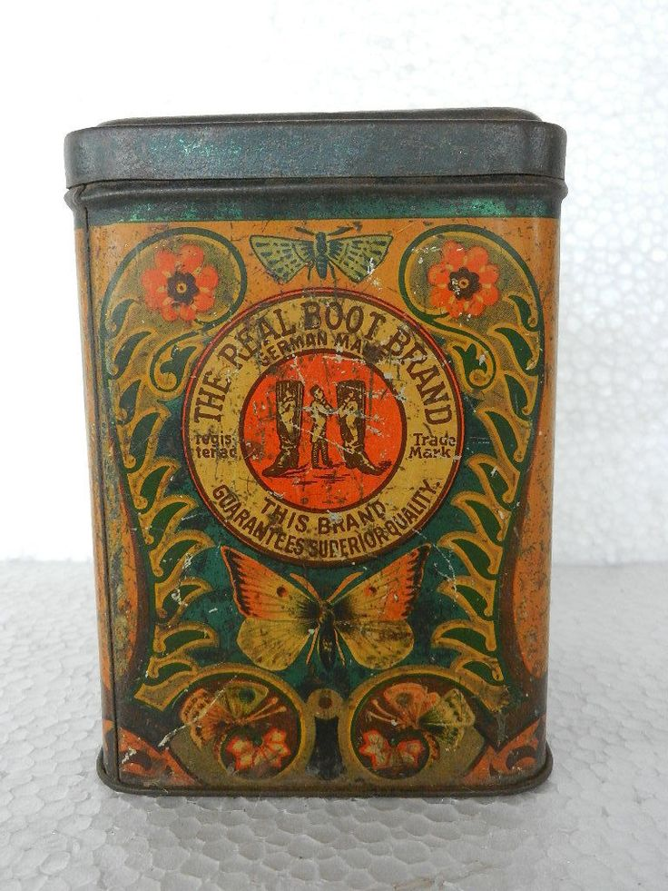 Vintage 'Real Boot Brand' Saccharin Fabric Butterfly Litho Print Tin Box
