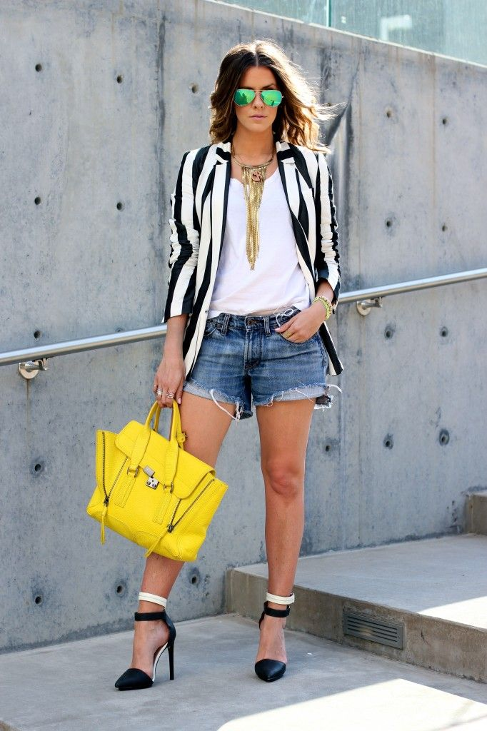 Blazer: Zara (Similar SPLURGE or Similar STEAL); Shorts: Madewell, old (Similar); Tank: Vince; Shoes: LAMB, sold out (These by Nasty Gal are IDENTICAL!); Bag: Phillip Lim; Sunglasses: Ray-Ban; Long Necklace: Michael Kors; Monogram Necklace: Bauble Bar; Jaguar Cuff: Courtney Kerr x Bauble Bar; Monogram Cuff: Bauble Bar; Neon Bracelet: Bauble Bar, old; Stackable Rings: Gorjana; Lips: MAC Cream Cup