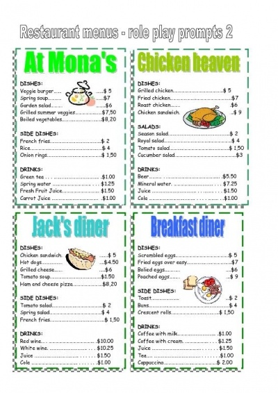 play class worksheet restaurant menu edugraphics worksheets 480