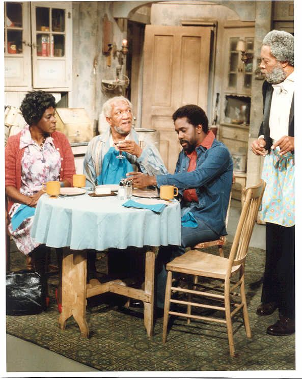 Sanford and Son is an American sitcom, based on the BBC's Steptoe and Son, that ran on the NBC television network from January 14, 1972, to March 25, 1977.  StarringRedd Foxx-- Fred Sanford  Demond Wilson--Lamont (son of Fred)  and Aunt Esther--LaWanda Page  Grady Wilson (Whitman Mayo)