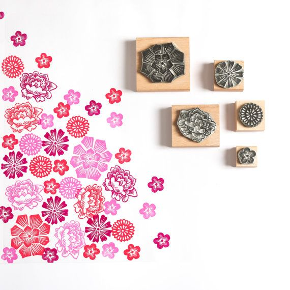 Mexican Flower Rubber Stamps by noolibirdstamps on Etsy
