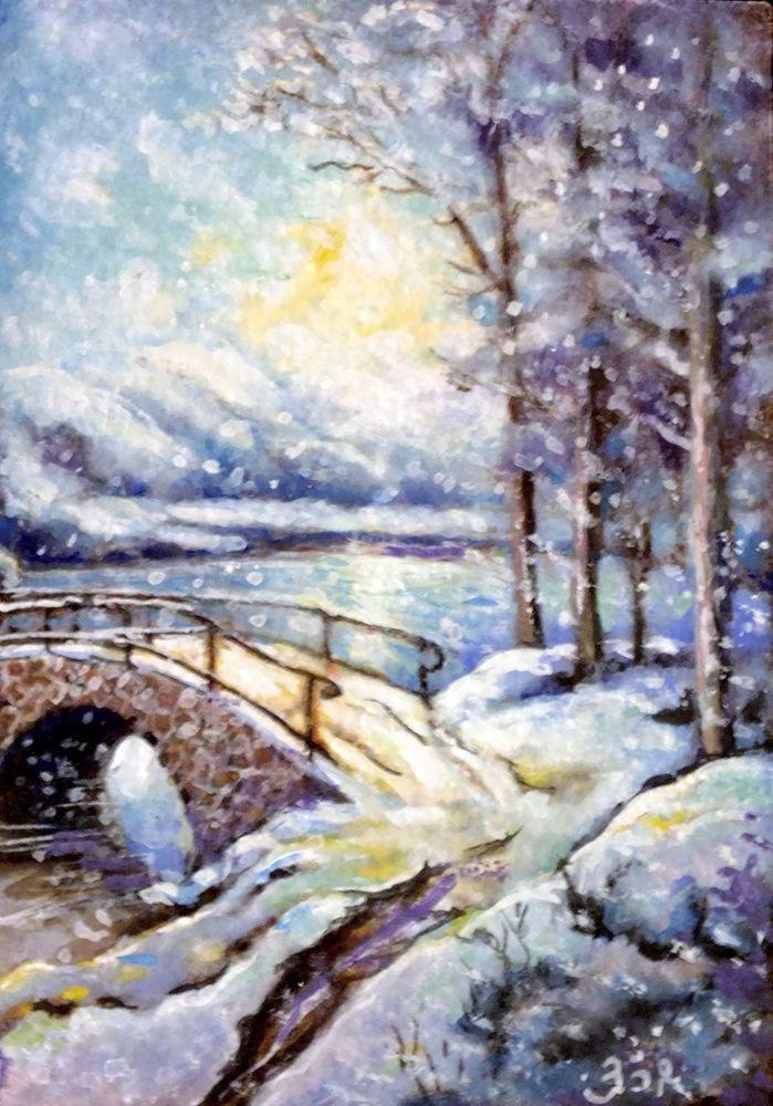 Aceo Original Painting Landscape Christmas Winter Snow River Forest Impressionism Landscape Paintings Painting Painting Snow