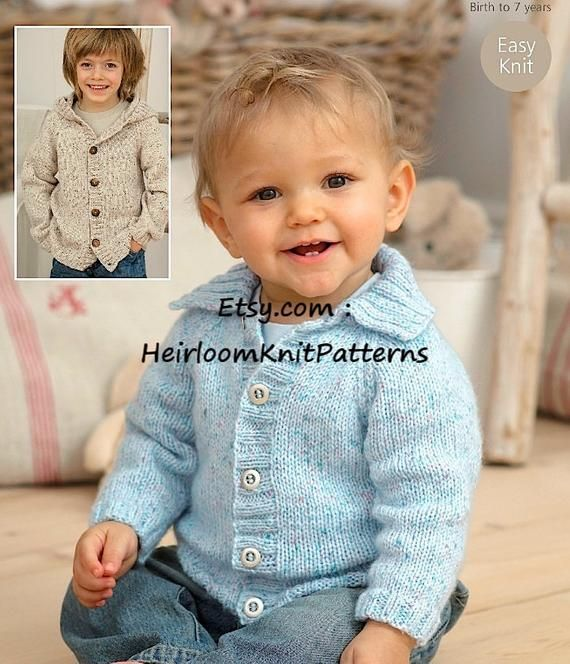 Baby Boys Hooded Jacket Cardigan collar KNITTING PATTERN DK 16-26in 0-7 yrs