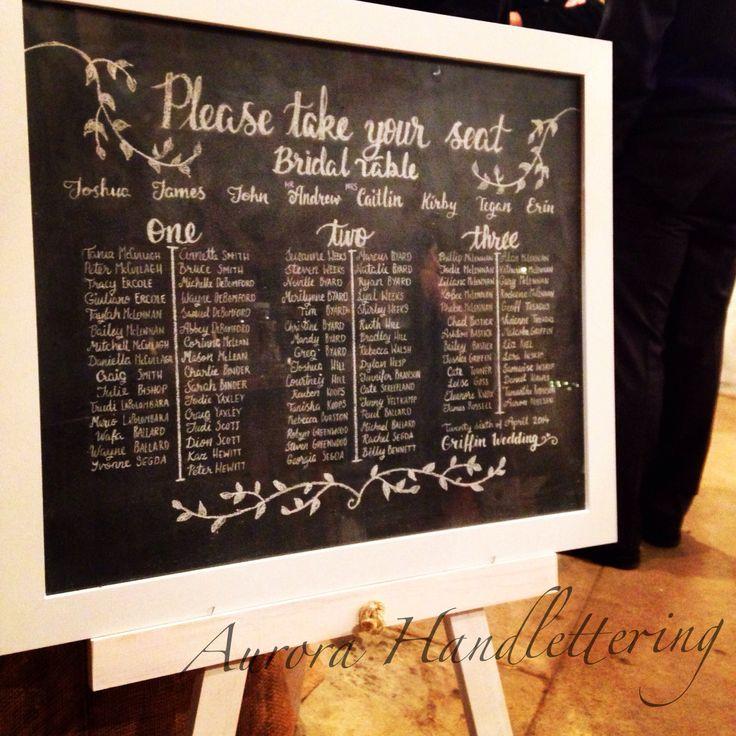 Place Setting board / chalk on framed blackboard / Brickendon Estate, Tasmania / 26.4.2014 / Aurora Handlettering