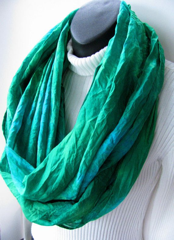 Hand dyed silk Infinity Scarf Emerald Green Scarf Turquoise