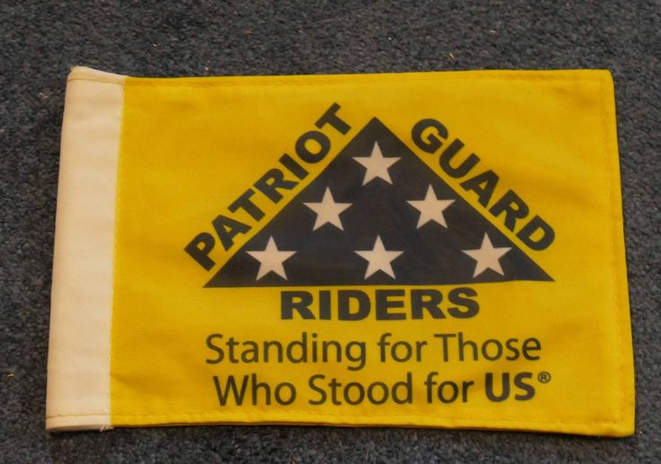 "Patriot Guard Riders 6"" x 9"" Nylon Motorcycle Flag Yellow with Blue PGR Logo"