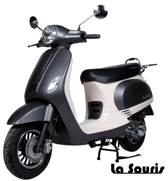 De Vespelini Scooter Mat Zwart met witte belijning is voorzien van een halogeen koplamp, geïntegreerde knipperlichten en Led Remlicht. Dit model lijkt veel op de Vespa LX. De scooter wordt geleverd met een gratis chromen bagagerek, t.w.v. € 60,00.