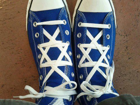 Jewish Star laces - this is so weird, but how can I ignore it? It just begs to be pinned!