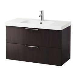 GODMORGON / ODENSVIK, Sink cabinet with 2 drawers, black-brown