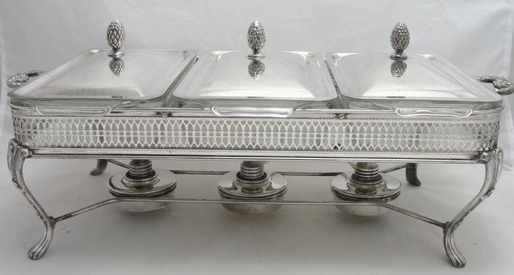 Table Food Warmer ~ Vintage silver plate buffet server table top food warmer