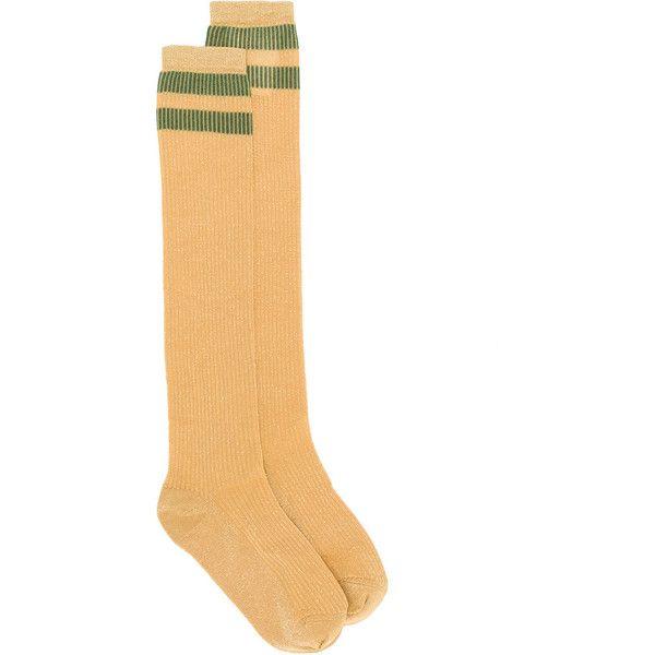 Red Valentino long lurex stripe socks (133 CAD) ❤ liked on Polyvore featuring intimates, hosiery, socks, unavailable, long striped socks, long orange socks, long socks, green striped socks and lurex socks