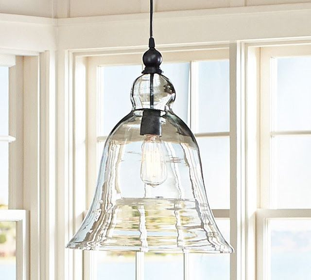 i have been in love with these bell pendant lights on the pottery barn us site - Glass Pendant Lighting