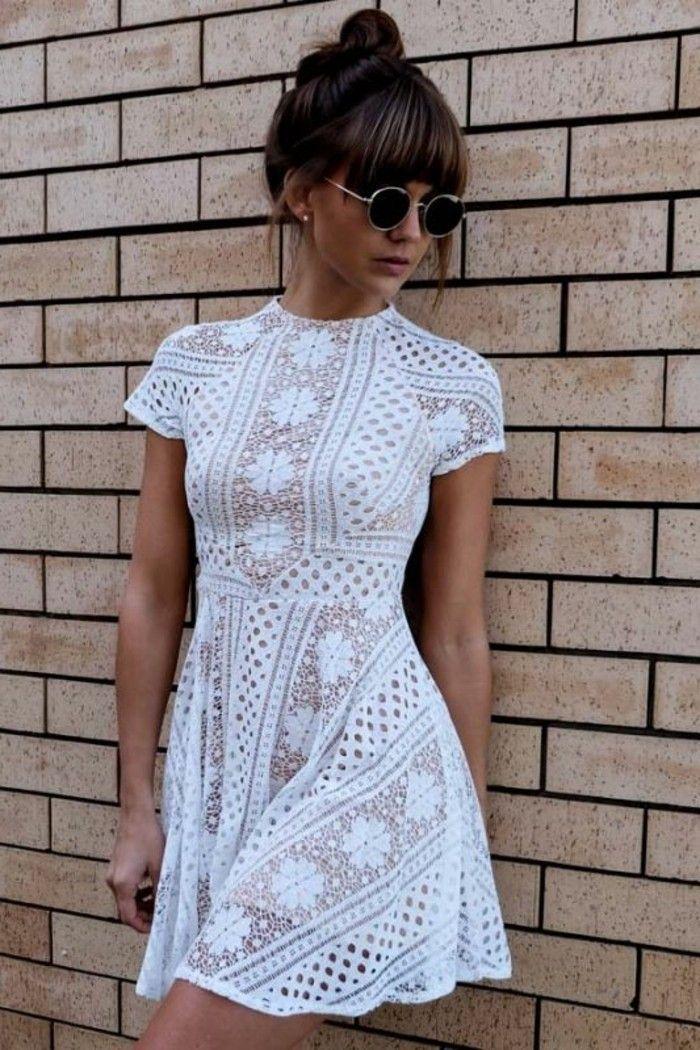 vestidos cóctel blanco, corto, mangas cortas