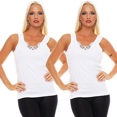 bd6be7f0c0415c 2er Pack Set Unterhemd Top Damen weiß schwarz Baumwolle mit Baumwollspitze  (Weiß-Weiß