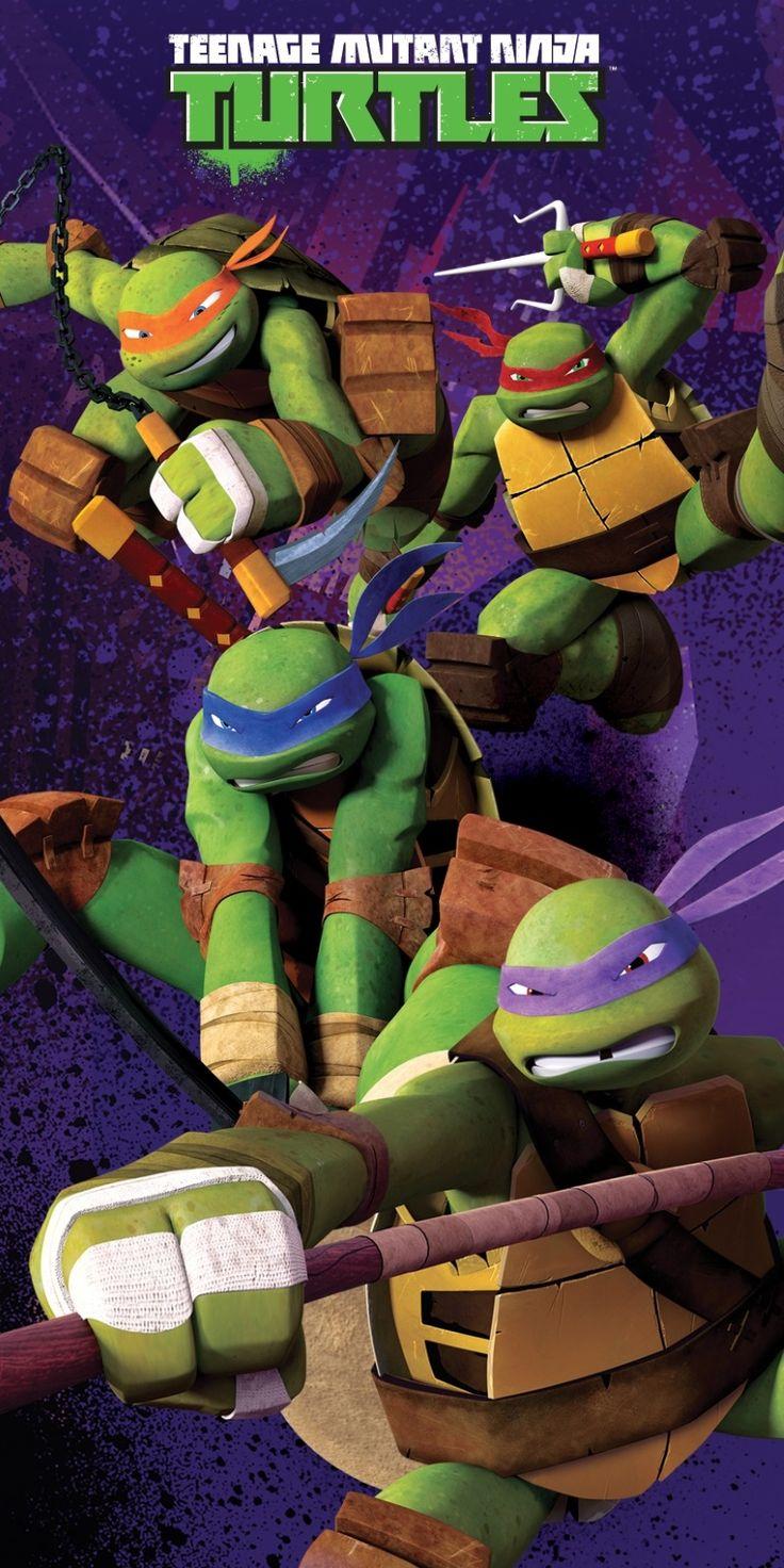 Walczące żółwie ninja Ręcznik dla dzieci w kolorze fioletowym
