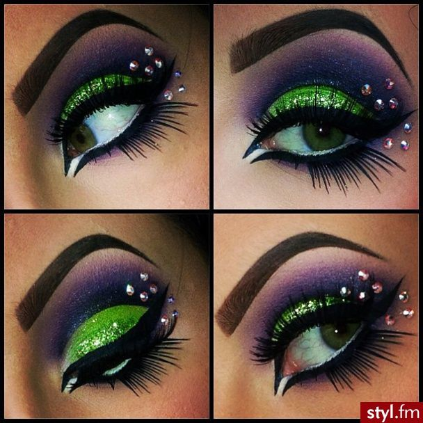 Stunning purple and sparkly lime green eye shadow with statement lashes and crystal accents.