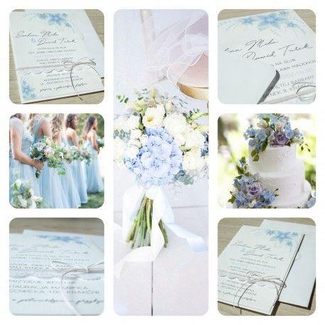 Zaproszenia, niebieskie kwiaty, z koronką