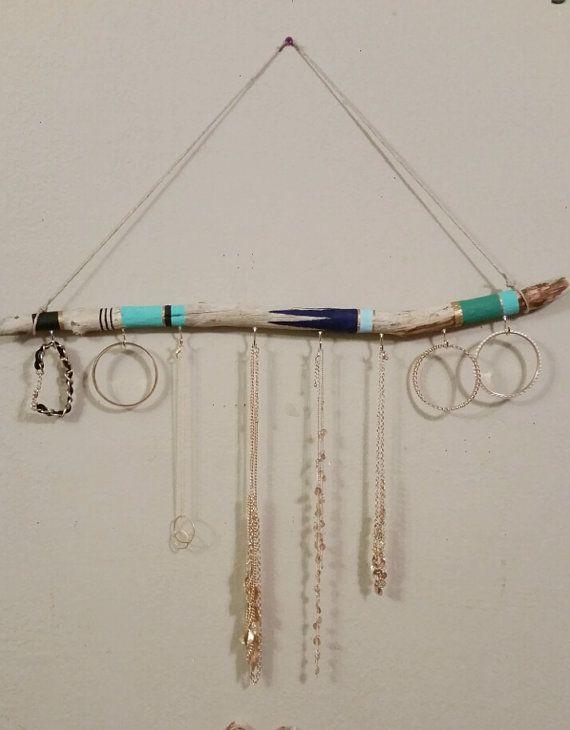 Organisateur de bijoux bois flotté 2ft, pendaison Jewelry Display, porte-collier aztèque, mur Jewelry Display, porte-bijoux Bohème, sur commande