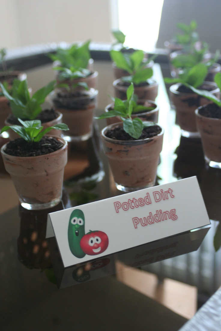 The Hodgepodge Mommy- Potted Dirt Pudding desserts (from Martha Stewart)- Veggie Tales Birthday Party