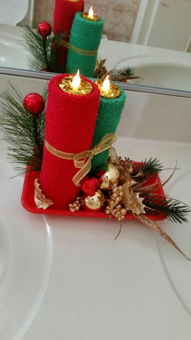 Velas de toalla navide as navidad pinterest toallas velas y navidad for Velas navidenas
