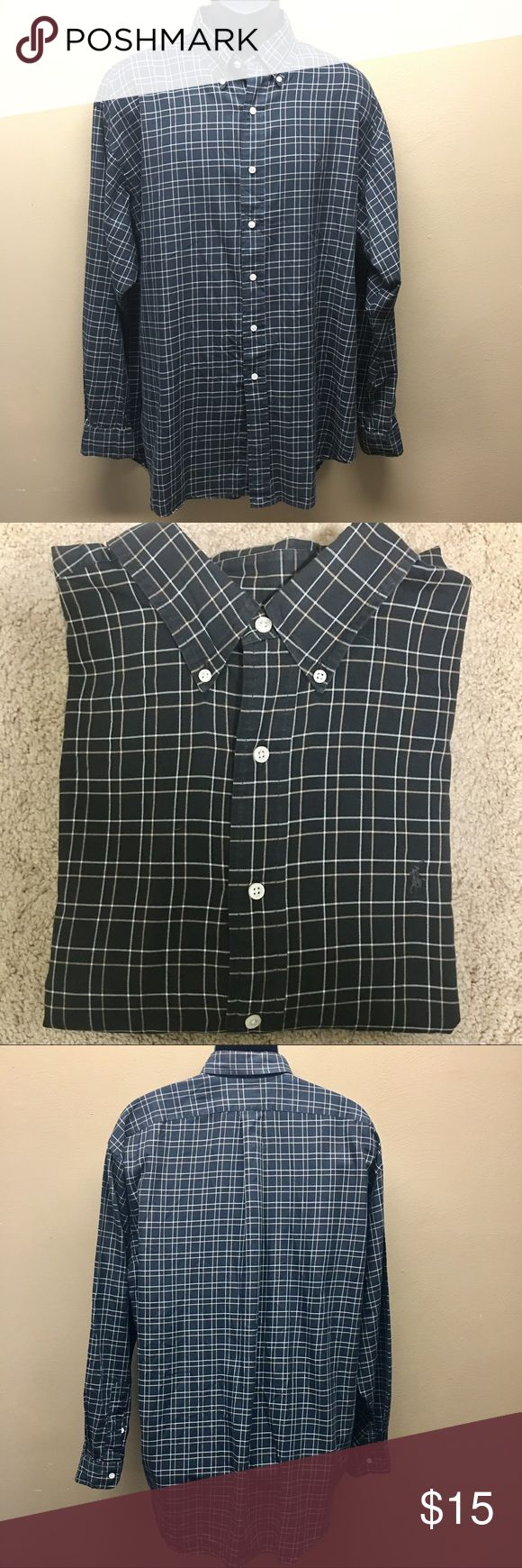 BOGO Sale 🎉Polo by Ralph Lauren Button Down Long sleeve Polo by Ralph Lauren Button Down Shirt. Size XL. Dark navy with stripes. Nice thin 100% cotton material. Very small imperfection by lower Button. Shown in last pic. $10 items 2 for $15 or 3 for $20!! Polo by Ralph Lauren Shirts Casual Button Down Shirts