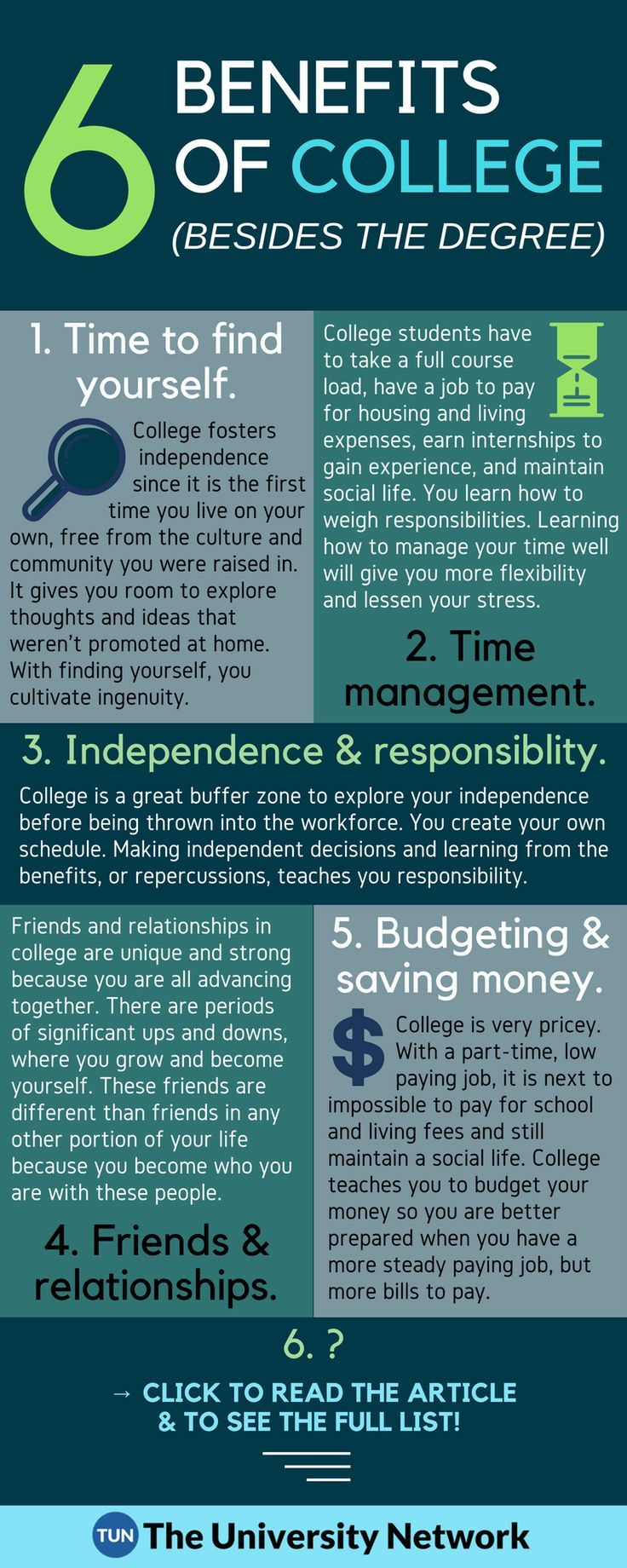 the benefits of completing a college education Explore the many benefits of earning a college degree, including higher pay, job   like organization, self-discipline and the ability to complete tasks from start to.