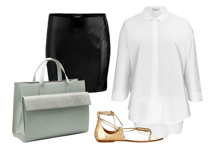 Upgrade your downtime style with leather CLARK skirt, loose COSENZA shirt and great accessories: GISELE shopper bag and AQUAZZURA metallic gold sandals!