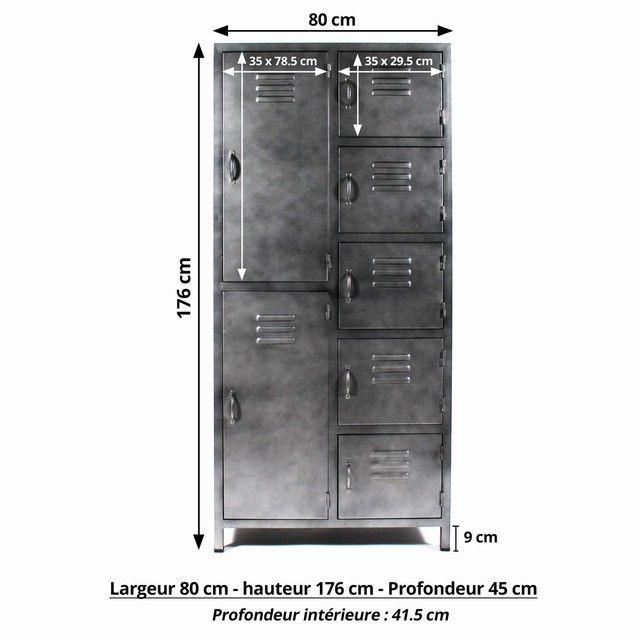 Armoire Grise Industrielle Style Casier 7 Portes Mk131 En Soldes Gris Fonce Made In Meubles La Redoute Armoires Grises Armoire Casier