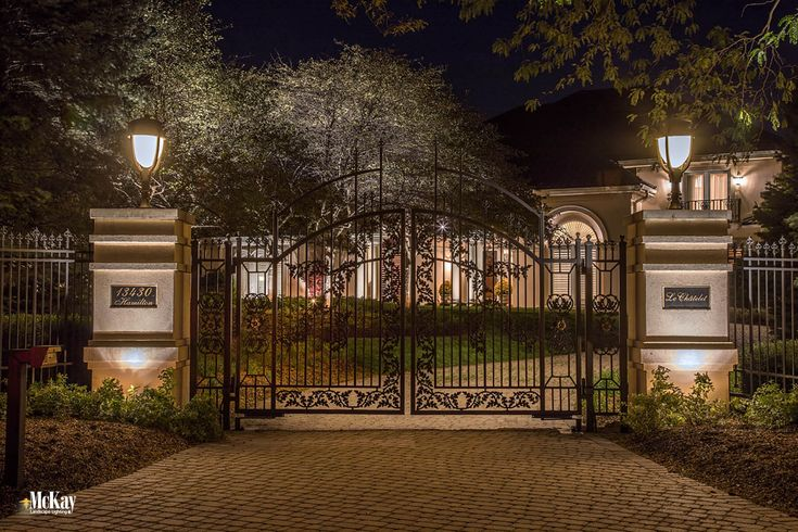 residential gate lighting and driveway