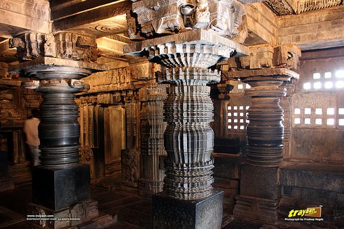 Hoysala style lathe turned pillars inside Keshava Temple, Somanathapura, Mysore district, One of the finest of Hoysala style architectures, near #Mysore, #Karnataka, #India   #Somanathapura #Somnathpur #Somanathpur #Somanathapur #Architecture #incredibleindia #Travels #Temples #templesofindia #Trayaan #Historical #Monuments #MonumentsOfIndia #Hoysala #HoysalaTemples #HoysalaArchitecture