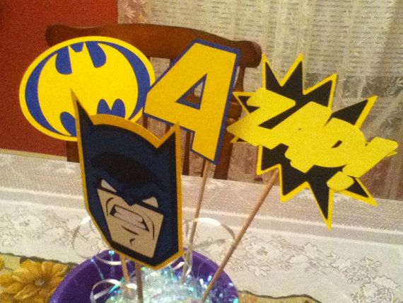 Cute Batman Party Centerpiece on Etsy, $5.50