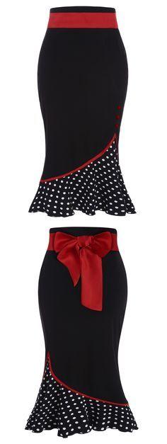 High Waisted Polka Dot Midi Skirt