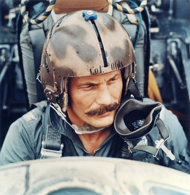"""Col Robin Olds, the triple ace USAF fighter pilot, with a combined 16 victories in WW2 and Vietnam. Olds was particularly mentioned in regard to an """"old pirate"""" handlebar mustache he sported throughout his Vietnam deployment. He died in 2007."""