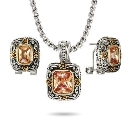 Asscher Cut Champagne Earring and Necklace Set Eve's Addiction. $32.00. Charm Size: 1 inch tall. Approximate Weight: 25.1 grams. TCW: 5 carats