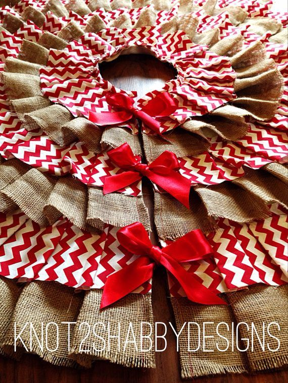 42 inch Red Chevron and Burlap tree skirt by Knot2ShabbyDesigns