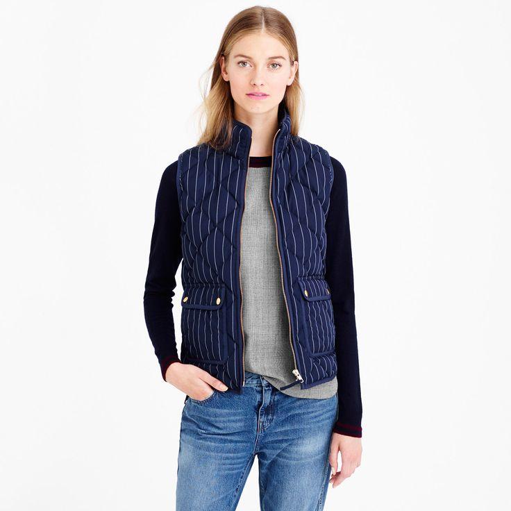 Excursion vest in pinstripe : puffer | J.Crew #indigo