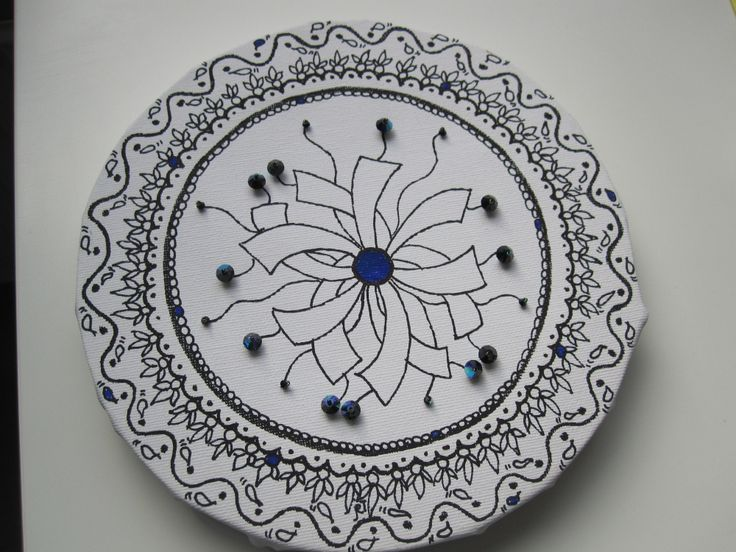 Zentangle op doek met Beads