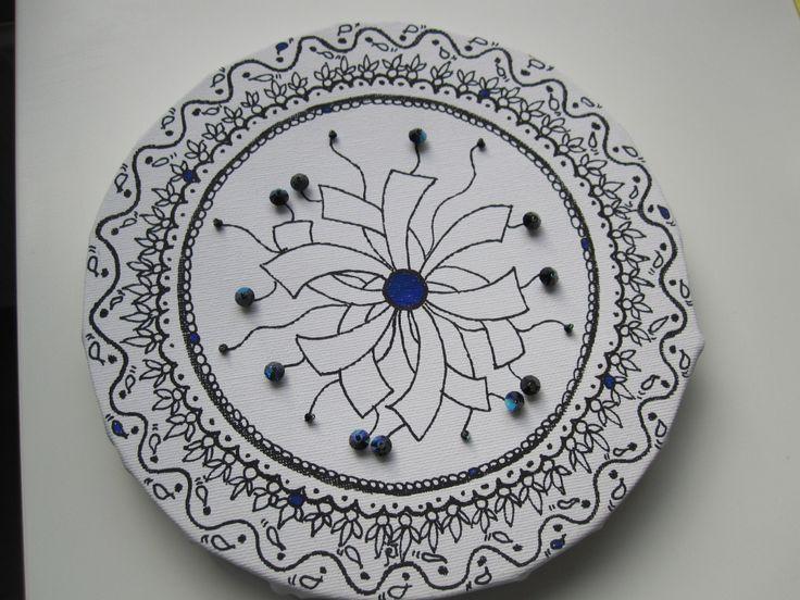 Zentangle op doek met Beads