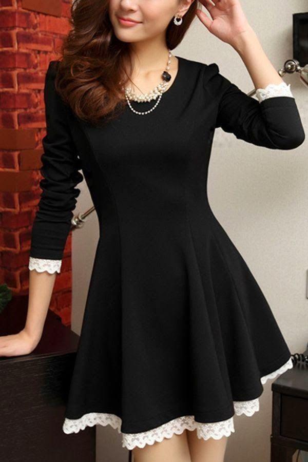 Stylish black dress with lace edging