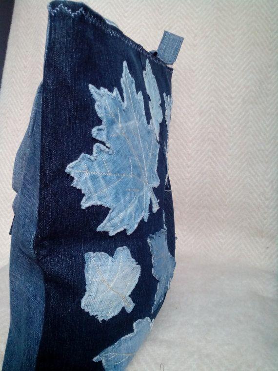 Denim bag. Size 40х43 cm. Leaf Applique Bag. Original, roomy and very comfortable bag.