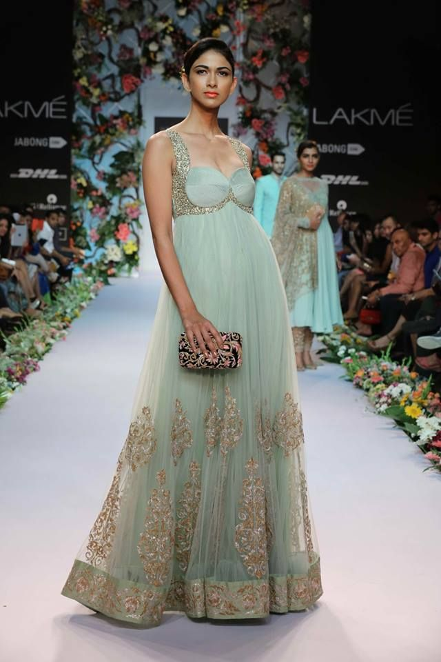 Shyamal & Bhumika Lakme Fashion Week Summer Resort 2014 Indian wedding sea green and gold fusion dress