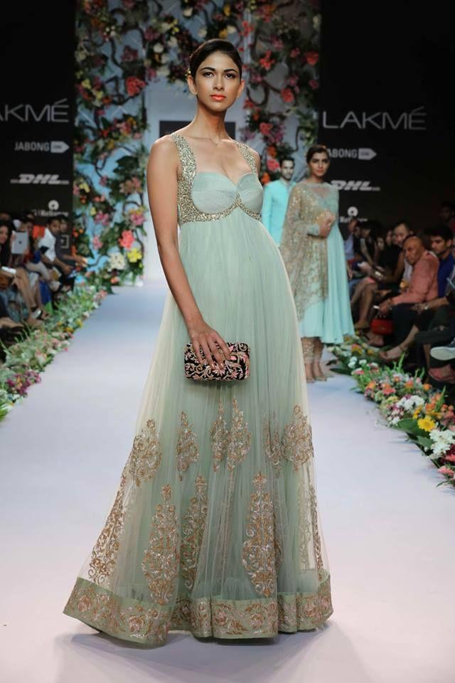 Shyamal & Bhumika Lakme Fashion Week Summer Resort 2014 Indian wedding sea green and gold fusion dress