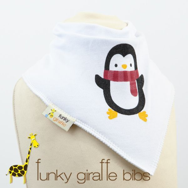 Penguin Bandana bib, from Funky Giraffe. Perfect design for winter, with our snug penguin. Keeps babies chests dry from dribble in the cold