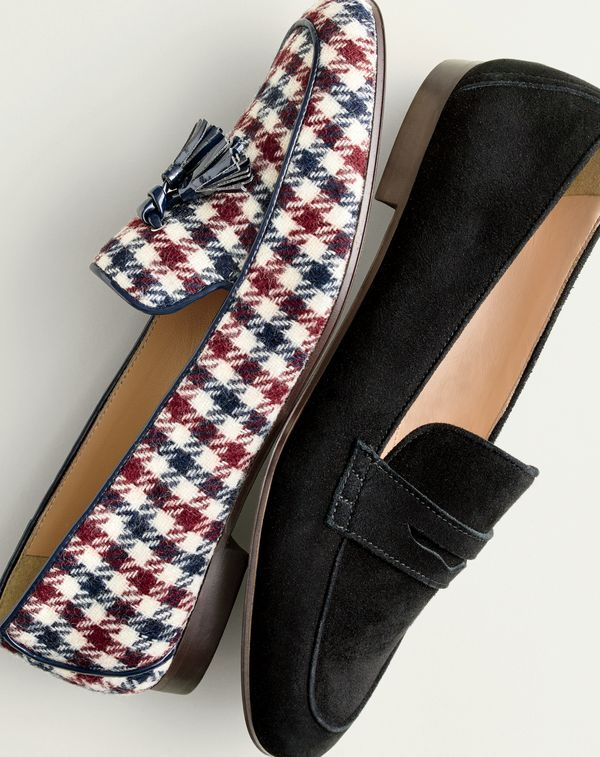 J.Crew women's Charlie tassel loafers in tweed and Charlie penny loafers in suede.